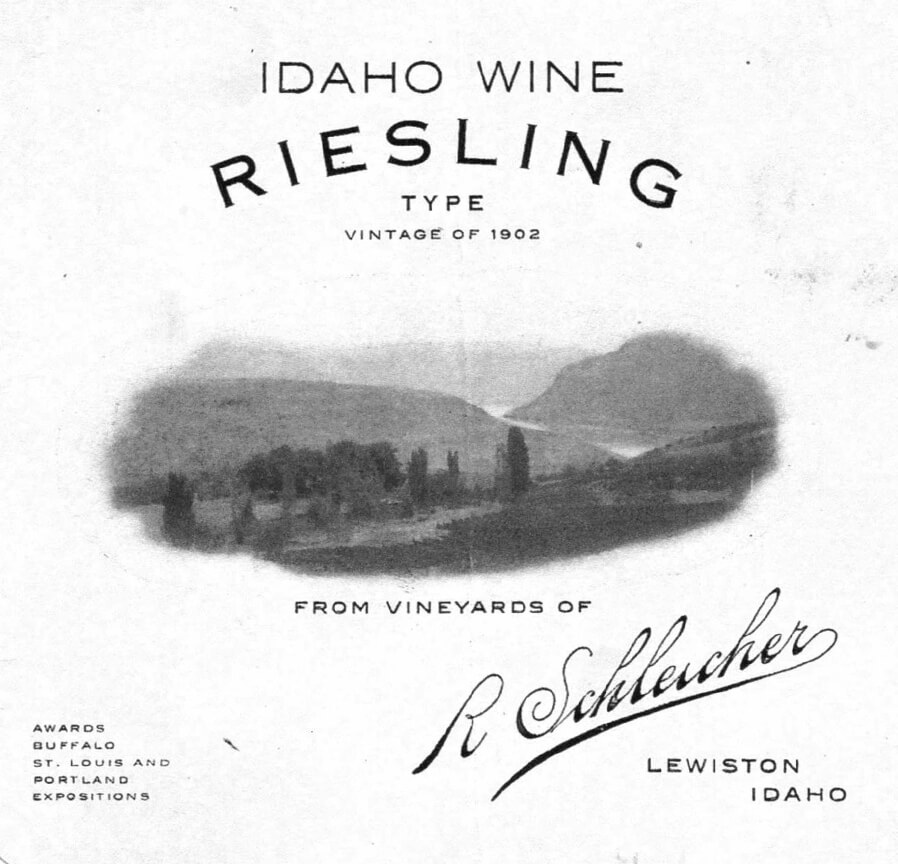 One of the first wine labels from the Lewis-Clark Valley circa 1902